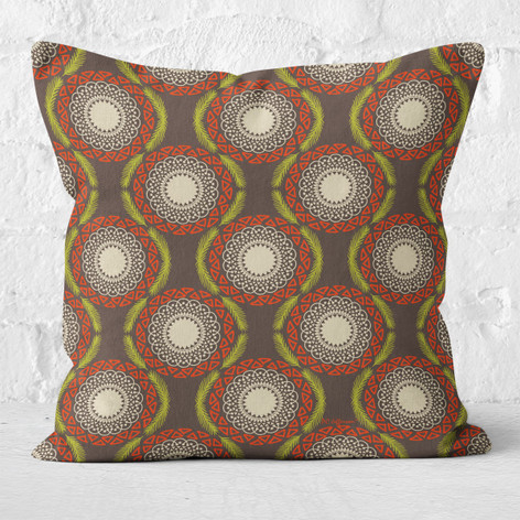 Brown Winter Tribal Throw Pillow