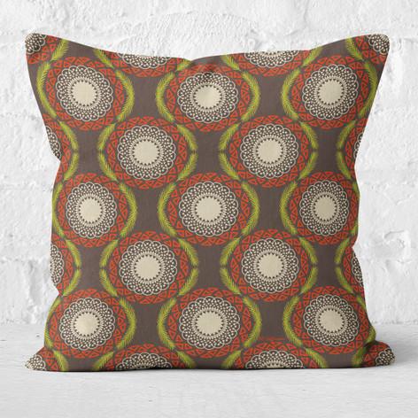 Brown Winter Tribal Throw Pillow