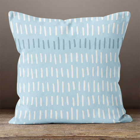 Blue with White Hash Marks Throw Pillow