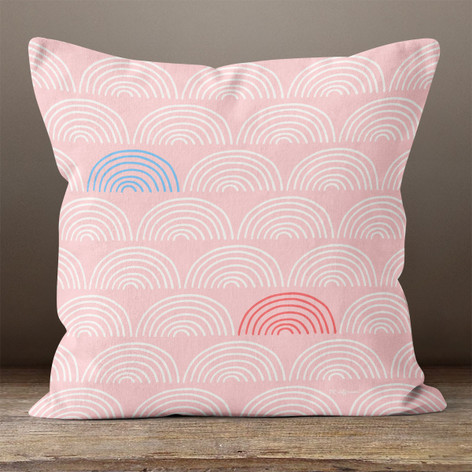 Pink with White, Red & Blue Rainbows Throw Pillow