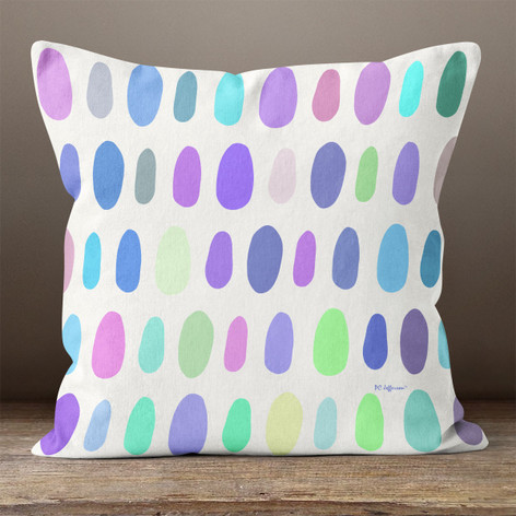 White with Bright Multicolored Irregular Ovals Throw Pillow
