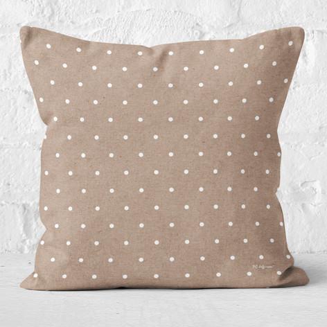 Tan with White Polka Dots Throw Pillow