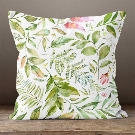 White Watercolor Florals and Leaves Throw Pillow