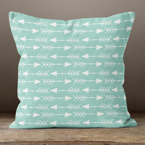 Teal with White Left & Right Arrows Throw Pillow