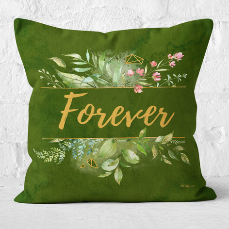 Green Watercolor Emerald Forever Throw Pillow