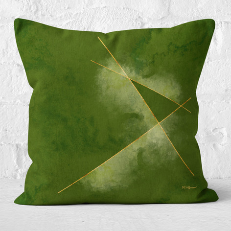 Green Watercolor Emerald Lines Throw Pillow