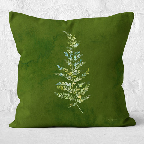 Green Emerald Watercolor Leaf Throw Pillow