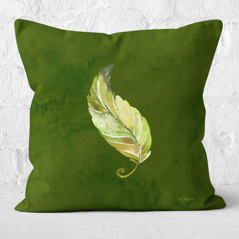 Green Emerald Watercolor Leaf 2 Throw Pillow