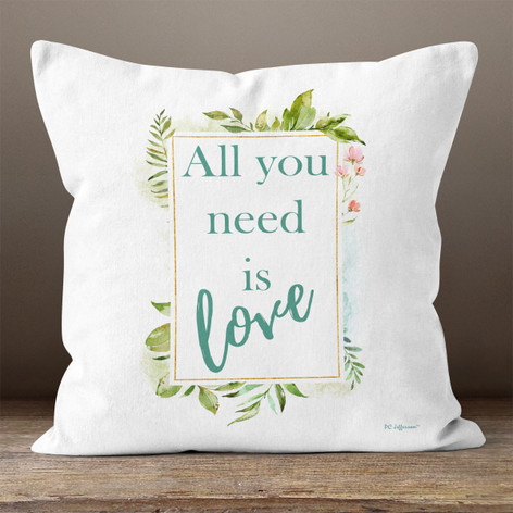 White Floral All You Need Is Love Throw Pillow