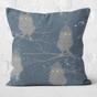 Dark Blue Winter Owls Throw Pillow