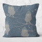 Dark Blue Winter Owls Throw Pillow