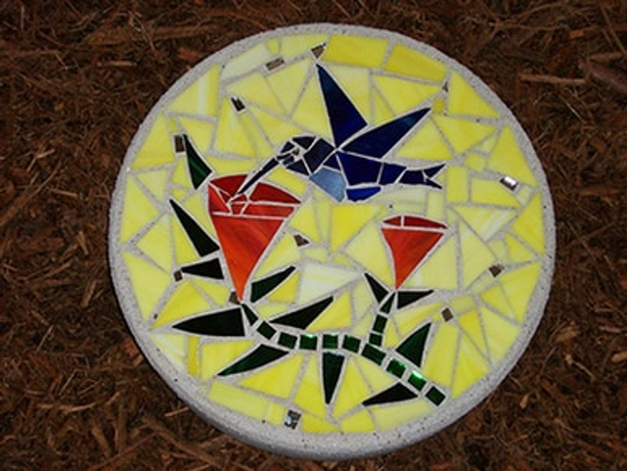Hummingbird Stained Glass Stepping Stone by Zoozii's Q.T.Z. on WisconsinMade Artisan Collective