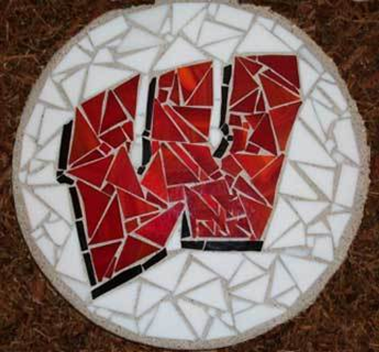 Motion W Stained Glass Stepping Stone by Soozii's QTZ is available on WisconsinMade Artisan Collective