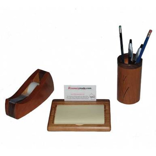 Handcrafted Wood Desk Set - Cherry with Walnut Accents