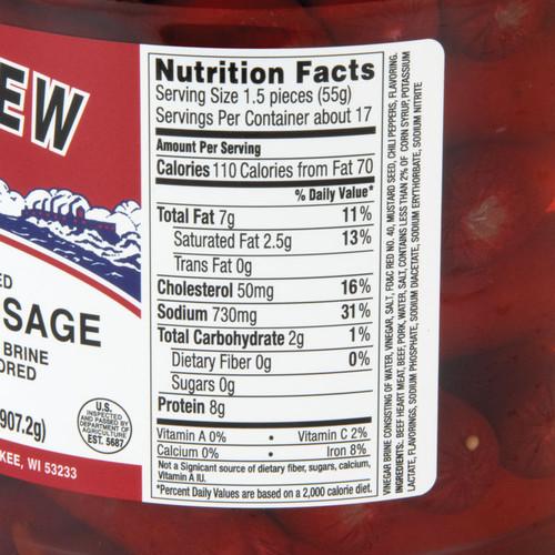 Red Hot Pickled Polish Sausage - 2 Jars