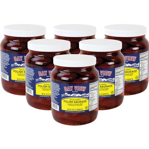 Bay View Pickled Polish Sausage - Case of 6 Jars