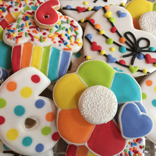 Rainbow Frosted Birthday Age Sugar Cookies