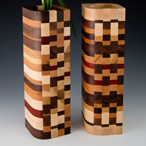 Bud Vase - Mosaic Wood Design