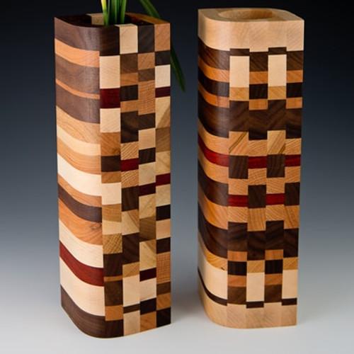 Bud Vase - Mosaic Wood Design