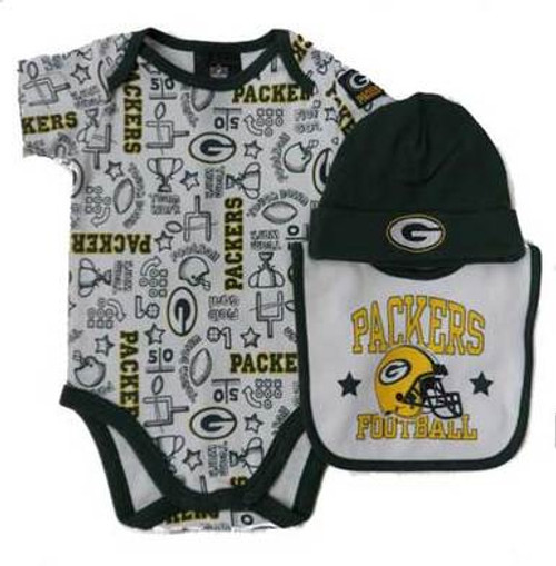 Packers Helmet Creeper, Hat, Bib Set