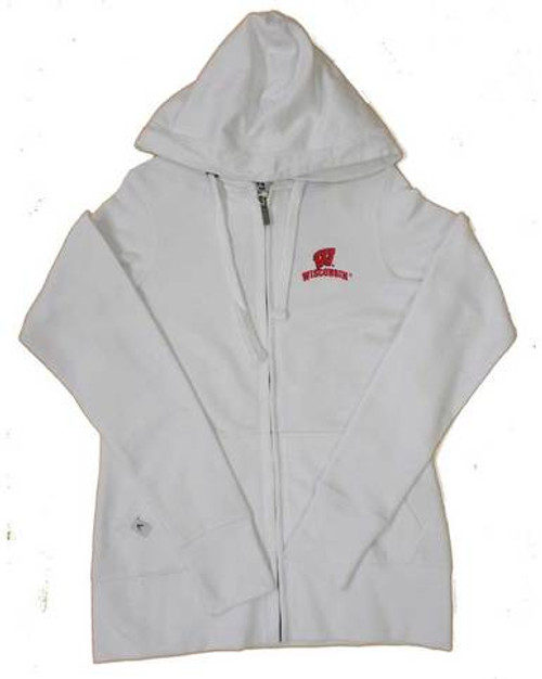 Wisconsin Badgers White Full Zip Hoodie - Ladies