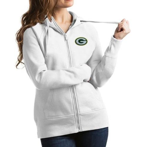 Packers Victory White Full Zip Hoodie - Ladies