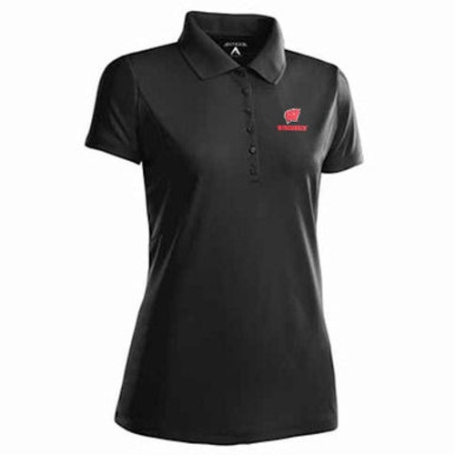 Wisconsin Badgers Black Pique Polo - Ladies