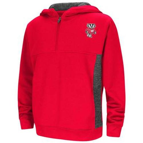 Bucky Badger Half Zip Pullover Hoodie - Youth