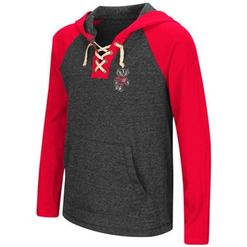 Badger Girls Lace Up Long Sleeve Hooded Tee