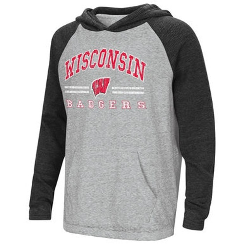 Badgers Raglan Long Sleeve Hooded Tee - Youth