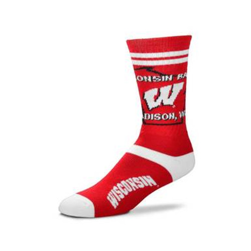 Wisconsin Badgers State Outline Socks - Adult
