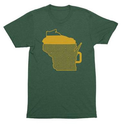 Wisconsin Beer Mug Adult T-Shirt - Green