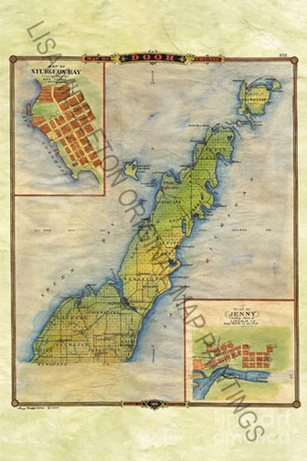 Door County Wisconsin Historic Map - Gift Print