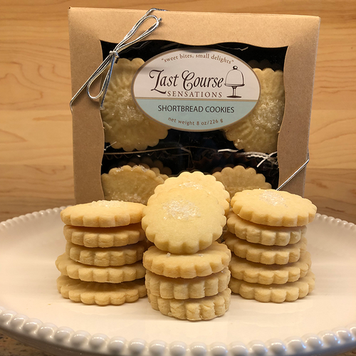 Last Course Sensations Shortbread Cookie Gift Box - standard silver tie with Plain Shortbread Cookies