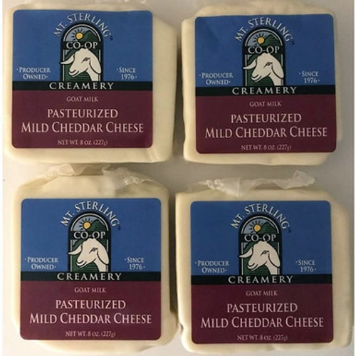 Pasteurized Mild Cheddar Goat Cheese - Four 8 oz.