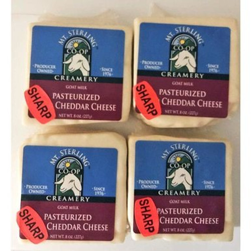 Pasteurized Sharp Cheddar Goat Cheese - Four 8 oz.
