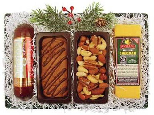 Holiday Cheese, Sausage, Fudge and Nut Tray