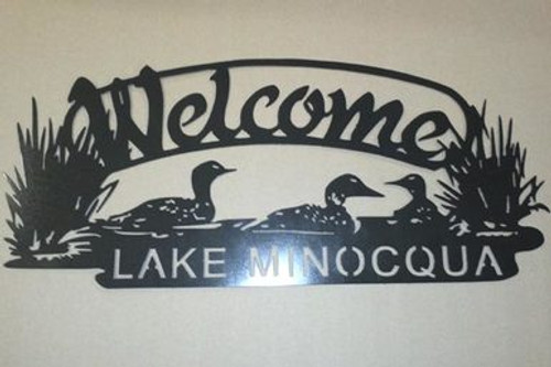Personalized Loon Welcome Sign - Black Hammered Fi
