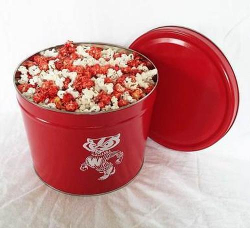 Bucky Badger Popcorn Tin with Badgerland Mix