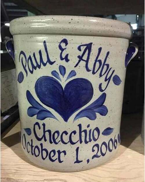 Rowe Pottery Personalized Heart Crock - 2 Gallon