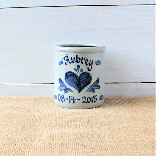 Personalized Heart Design Crock - 1 Quart
