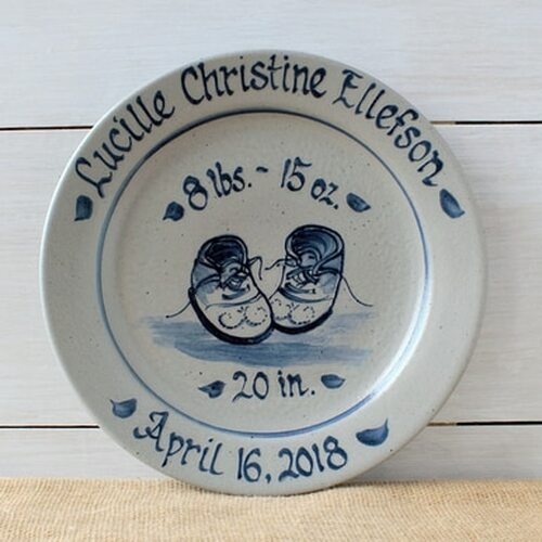 Rowe Pottery Personalized Birth Plate