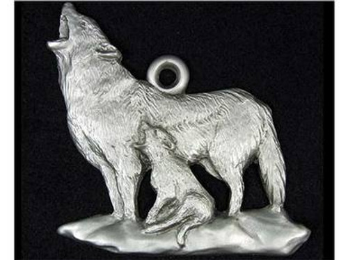 Wildlife Christmas Ornaments - Wolf in Pewter