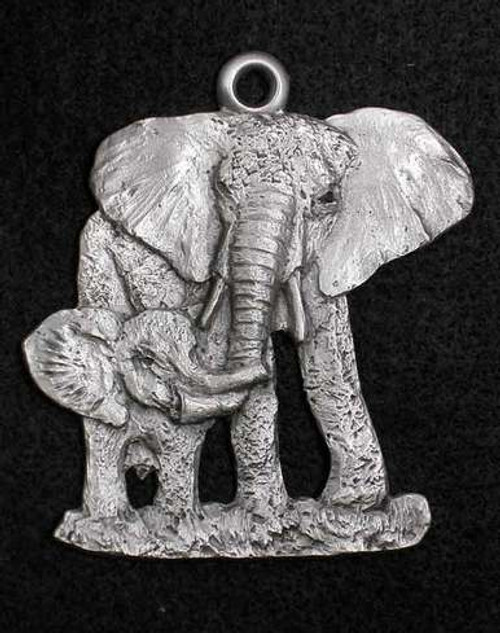 Pewter Ornament - Elephant Mother and Baby