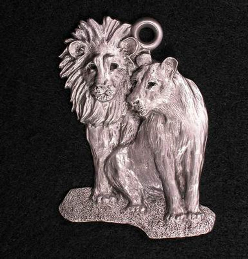 Pewter Ornament - Lion and Lioness