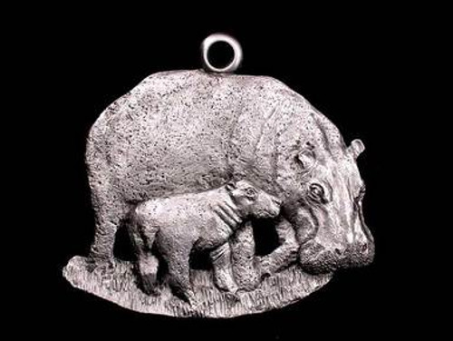 Pewter Ornament - Hippos