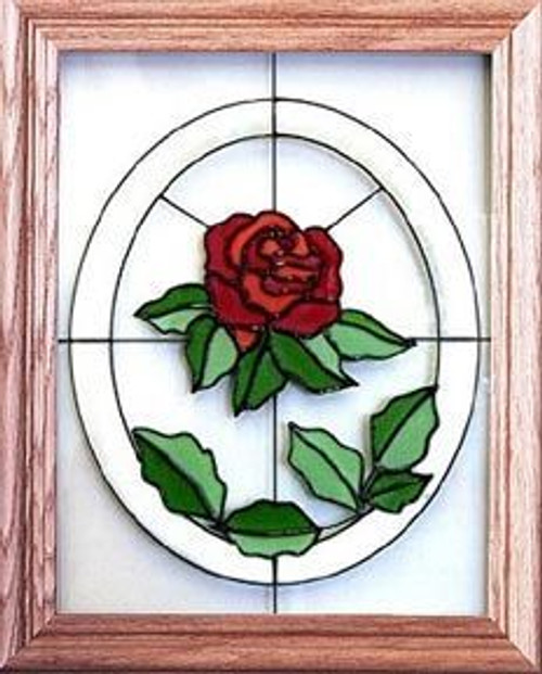 Red Rose Art Glass Window