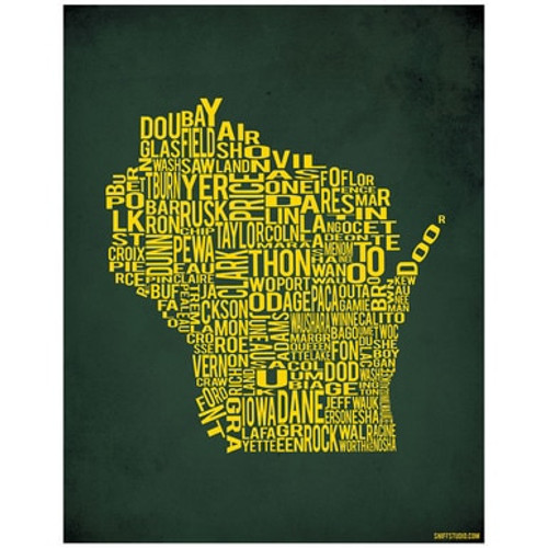 Art Print - Wisconsin by County - Packer Green and Gold