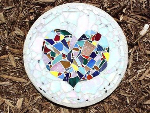 Heart Stepping Stone with plaque