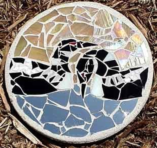 Double Loon Stained Glass Stepping Stone